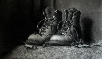 BOOTS STILL LIFE / CHARCOAL