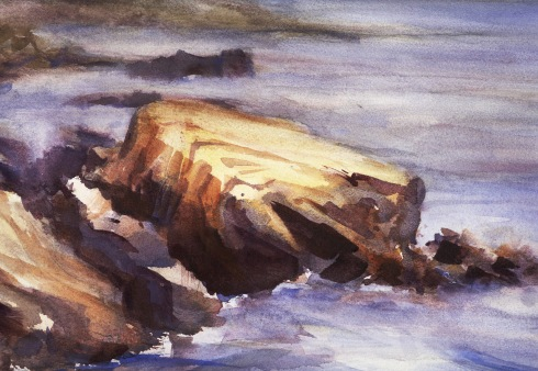 Surf on Rocks watercolor