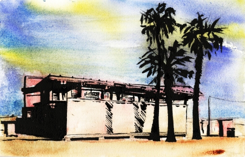 Watercolor landscape painting of Venice, California