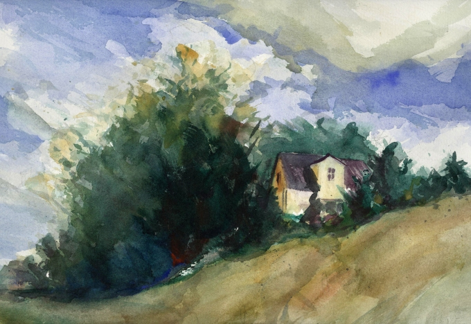 house on a hill painting watercolor