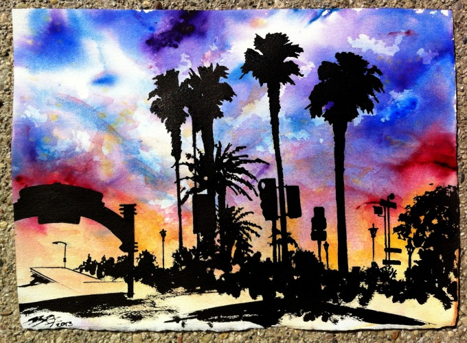 Sunset over the Santa Monica  pier in watercolor!