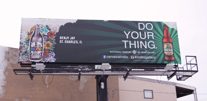 Benjy Jay's Indio Beer Billboard as seen in Chicago, IL at the intersection of Western and Grand