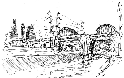 Ink drawing of LA. Los Angeles viaducts landscape drawing, ink painting.