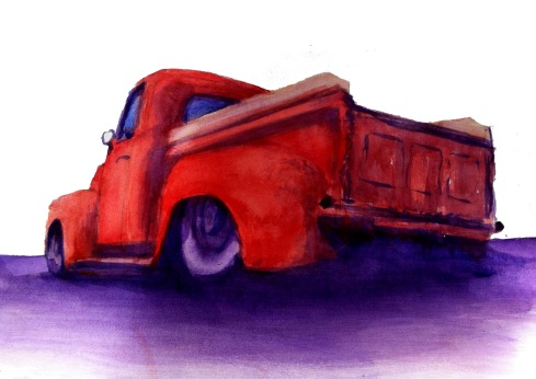 Forty Six Ford Pickup Classic Watercolor Sketch. Art by Benjy Jay.